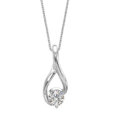 Womens 2-pc. 1 CT. T.W. White Moissanite 14K White Gold Round Pendant Necklace Set