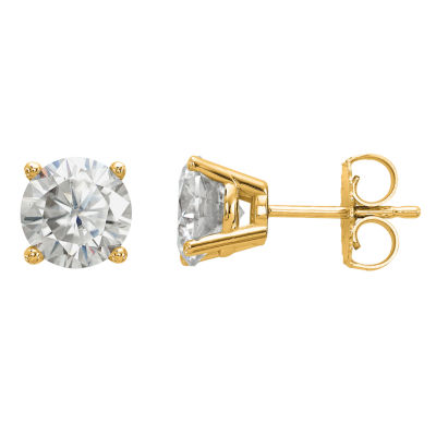 1 7/8 Ct. T.W. White Moissanite 14K Gold 6.5mm Round Stud Earrings