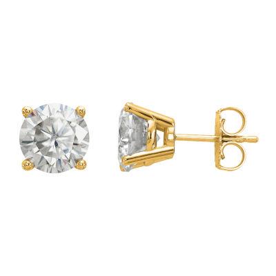 3 CT. T.W. White Moissanite 14K Gold 7.5mm Round Stud Earrings