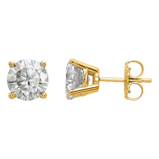 2 1/3 CT. T.W. White Moissanite 14K Gold 7mm Round Stud Earrings