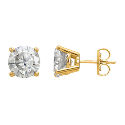 3 1/2 CT. T.W White Moissanite 14K Gold 8mm Round Stud Earrings