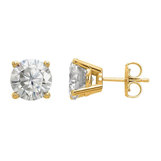 3 1/2 CT. T.W White Moissanite 14K Gold 8mm Round Stud Earrings