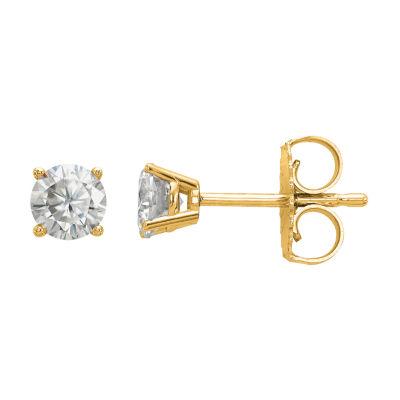 3/8 CT. T.W. White Moissanite 14K Gold 4mm Round Stud Earrings