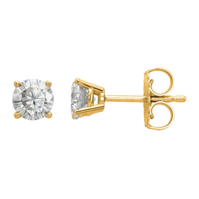 5/8 CT. T.W. White Moissanite 14K Gold 4.5mm Round Stud Earrings