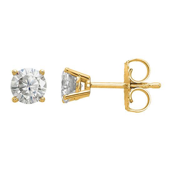 5/8 CT. T.W. White Moissanite 14K Gold 4.5mm Round Stud Earrings