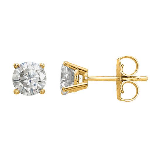 7/8 CT. T.W. White Moissanite 14K Gold 5mm Round Stud Earrings