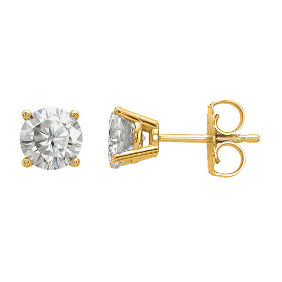1 1/8 Ct. T.W. White Moissanite 14K Gold 5.5mm Round Stud Earrings