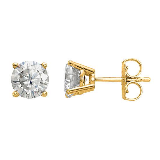 1 1/2 CT. T.W. White Moissanite 14K Gold 6mm Round Stud Earrings