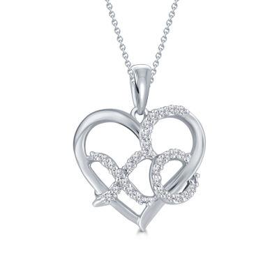Womens 1/10 CT. T.W. Genuine White Diamond Sterling Silver Heart Pendant Necklace