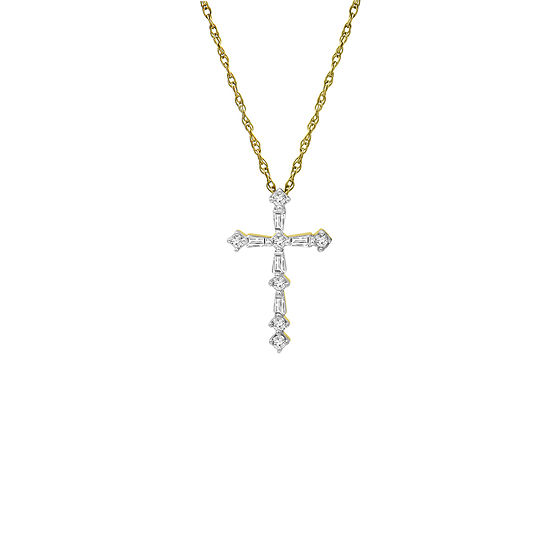 Womens 1 4 Ct Tw Genuine White Diamond Sterling Silver Cross Pendant Necklace