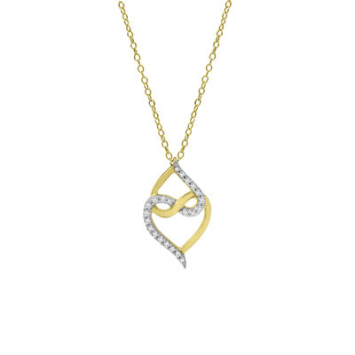 Womens 1/5 CT. T.W. Genuine White Diamond 10K Gold Over Silver Infinity Pendant Necklace