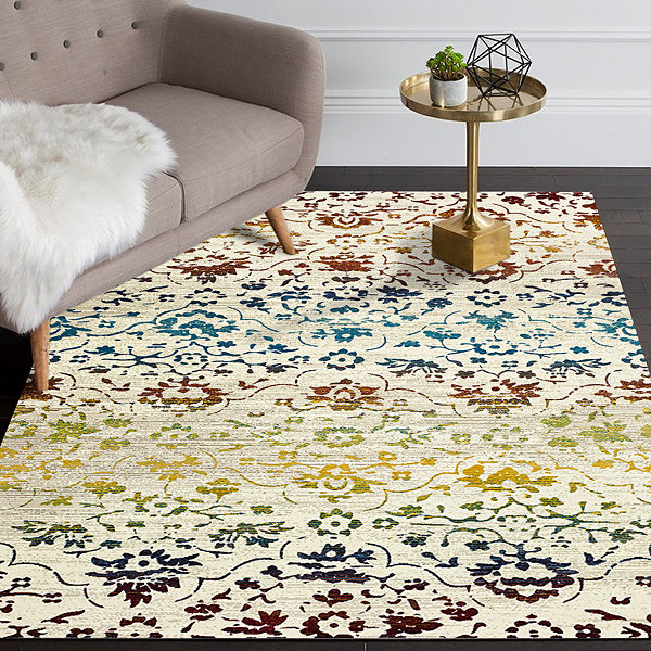 Gala Contemporary Damask Rectangular Rug