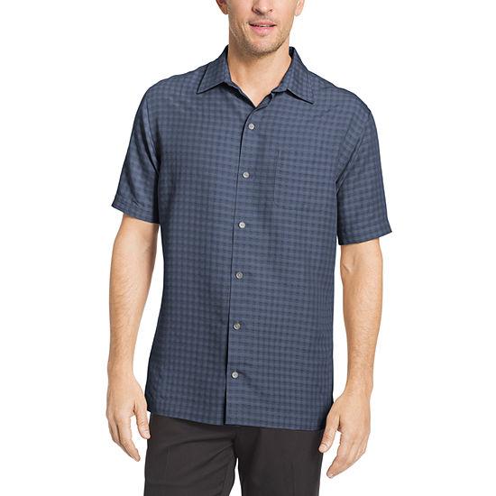 Van Heusen® Short Sleeve Grid Button-Front Shirt