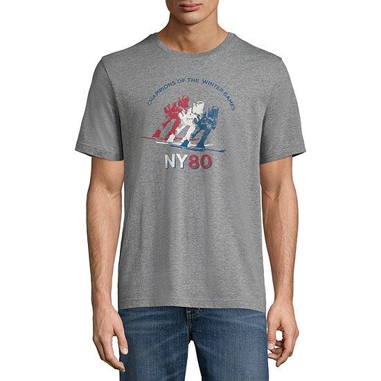 St. John's Bay Mens Crew Neck Short Sleeve Americana Graphic T-Shirt