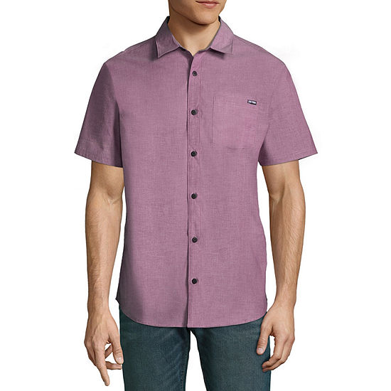 Zoo York Mens Y Neck Short Sleeve Button-Front Shirt
