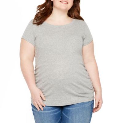 Planet Motherhood Short Sleeve Crew Neck T-Shirt - Plus Maternity
