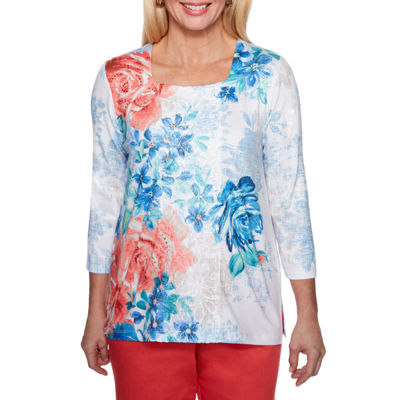 Alfred Dunner Sun City 3/4 Sleeve Square Neck Floral T-Shirt-Womens
