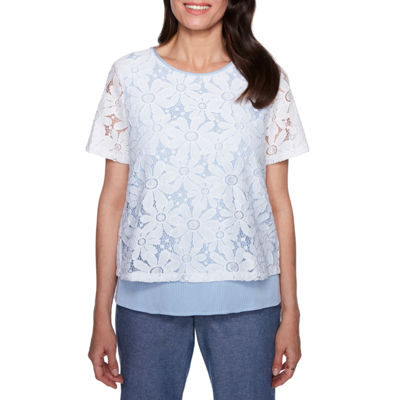 Alfred Dunner Blues Traveler Lace Overlay Blouse