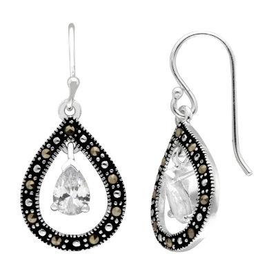 Sparkle Allure 1 CT. T.W. Clear Silver Over Brass Drop Earrings