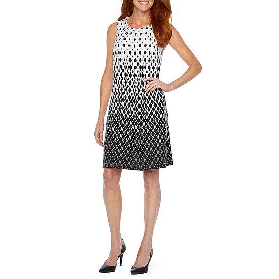 Perceptions Sleeveless Midi Geometric Shift Dress