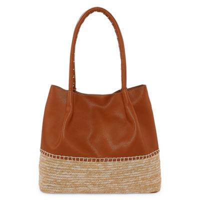 St. John's Bay Straw/Pu Mixed Material Tote Bag