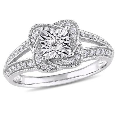 Womens 1/5 CT. T.W. Genuine White Diamond 10K White Gold Engagement Ring