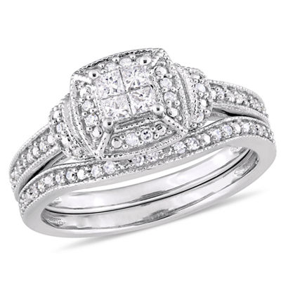 Womens 1/3 CT. T.W. Genuine White Diamond 10K White Gold Bridal Set