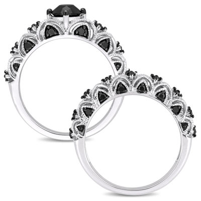 Womens 1 1/4 CT. T.W. Black Diamond 10K White Gold Bridal Set