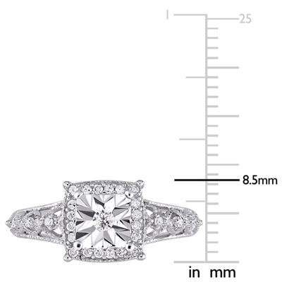 Womens 1/5 CT. T.W. Genuine White Diamond Sterling Silver Engagement Ring