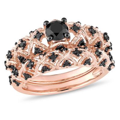 Womens 1 CT. T.W. Color Enhanced Black Diamond 18K Gold Over Silver Bridal Set