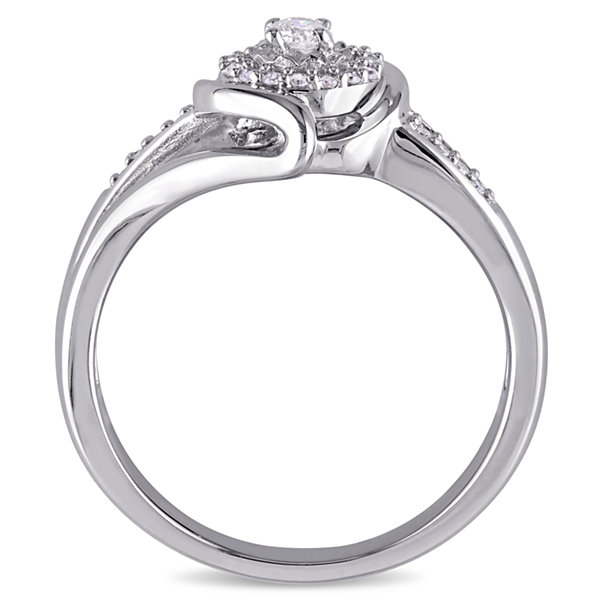 Womens 1/5 CT. T.W. Round White Diamond Sterling Silver Engagement Ring