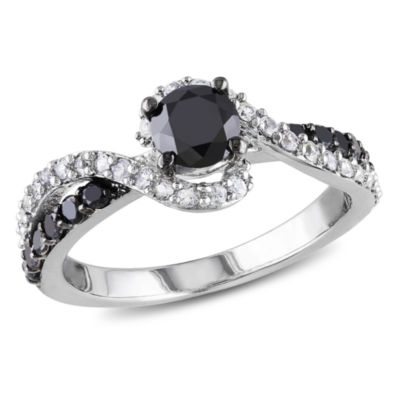 Womens 3/4 CT. T.W. Color Enhanced Round Black Diamond & Lab Created White Sapphire Sterling Silver Engagement Ring