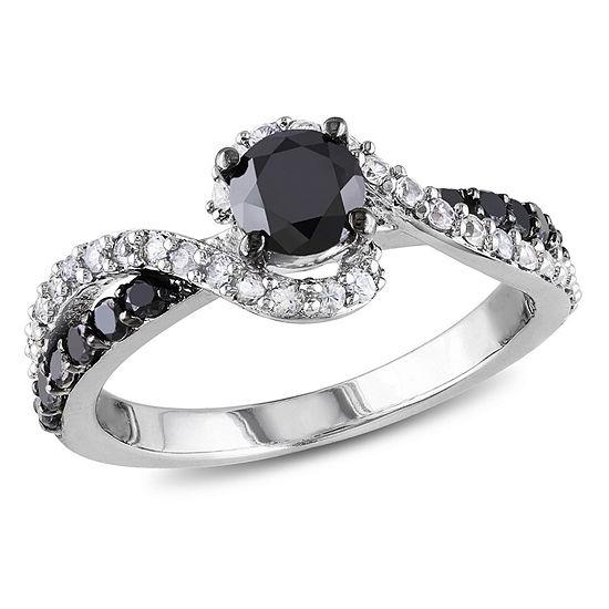 9mm Wedding Band 1 4 Ct Tw Black Diamonds Stainless Steel: Womens 3/4 CT. T.W. Color Enhanced Round Black Diamond