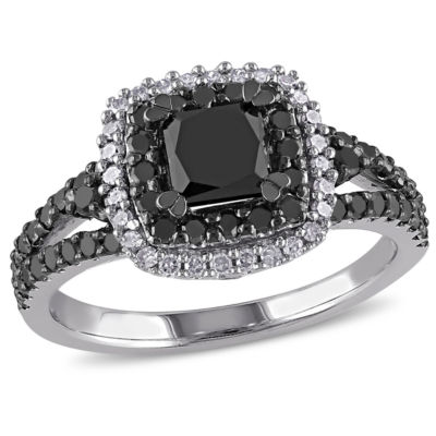 Womens 1 1/2 CT. T.W. Color Enhanced Round Black & White Diamond Sterling Silver Engagement Ring