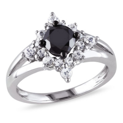 Womens 1/2 CT. T.W. Color Enhanced Round Black Diamond & Lab Created White Sapphire Sterling Silver Engagement Ring