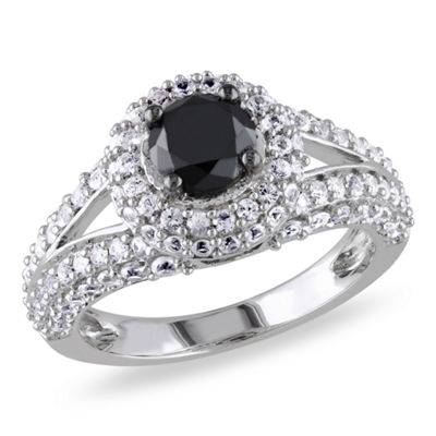 Womens 1 CT. T.W. Color Enhanced Round Black Diamond & Lab Created White Sapphire Sterling Silver Engagement Ring