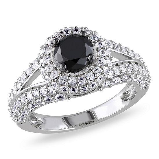 9mm Wedding Band 1 4 Ct Tw Black Diamonds Stainless Steel: Womens 1 CT. T.W. Color Enhanced Round Black Diamond & Lab