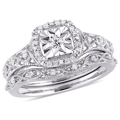 Womens 1/5 CT. T.W. White Diamond Sterling Silver Bridal Set