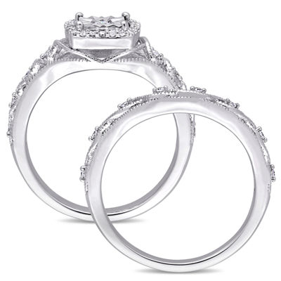 Womens 1/5 CT. T.W. Genuine White Diamond Sterling Silver Bridal Set