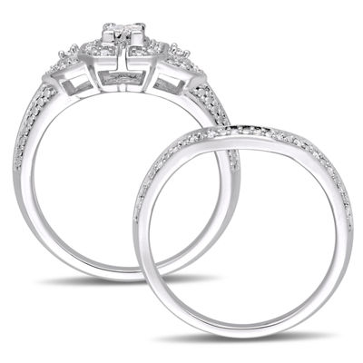 Womens 1/4 CT. T.W. White Diamond Sterling Silver Bridal Set