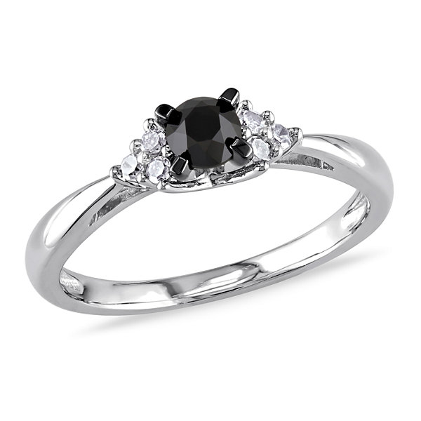 Womens 1/2 CT. T.W. Genuine Round Black & White  Diamond Sterling Silver Engagement Ring