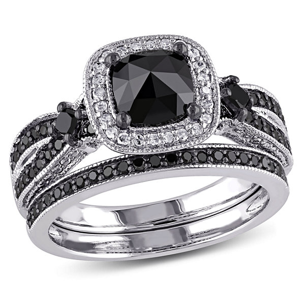 Womens 1 1/2 CT. T.W. Color Enhanced Black & White  Diamond Sterling Silver Bridal Set