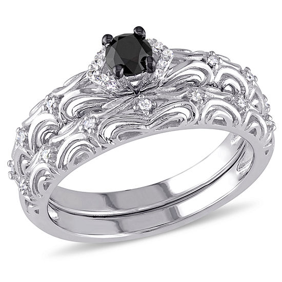 Womens 1/3 CT. T.W. Color Enhanced Black & White  Diamond Sterling Silver Bridal Set