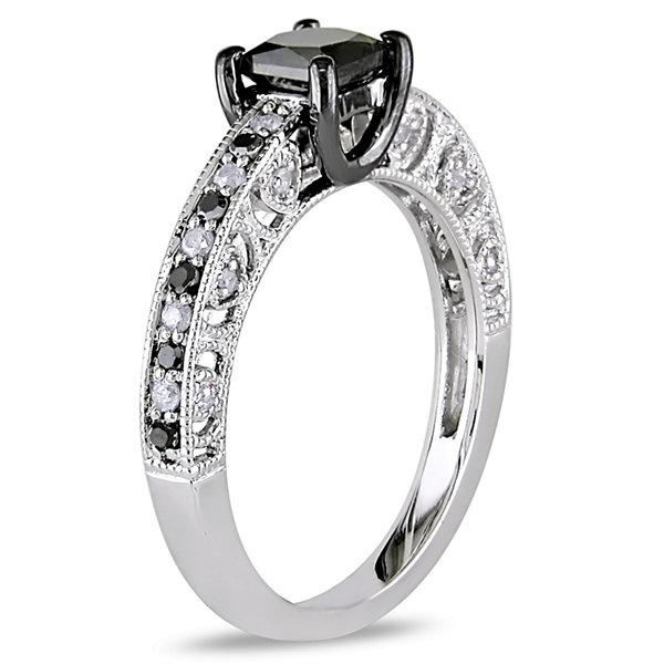 Womens 1 CT. T.W. Color Enhanced Princess Black & White Diamond Sterling Silver Engagement Ring