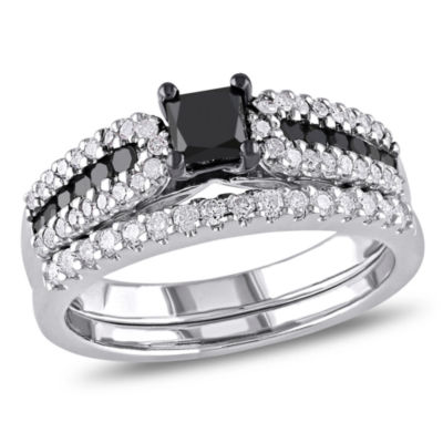 Womens 1 CT. T.W. Color Enhanced Black & White Diamond Sterling Silver Bridal Set