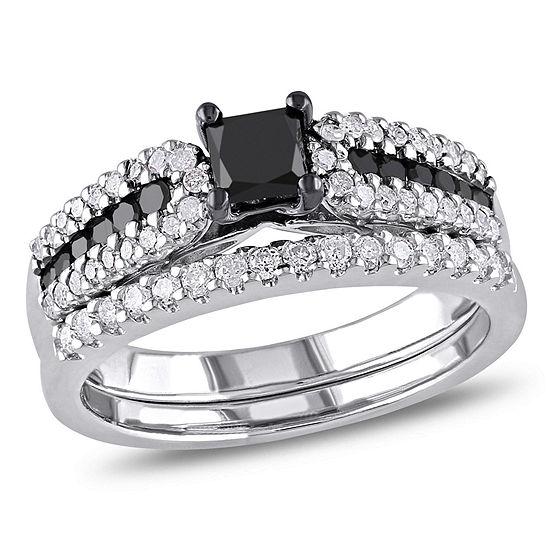 Womens 1 CT. T.W. Color Enhanced Black & White Diamond Sterling Silver Bridal Set