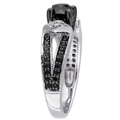 Womens 1 CT. T.W. Color Enhanced Round Black & White Diamond Sterling Silver Engagement Ring