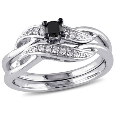 Womens 1/4 CT. T.W. Color Enhanced Black & White  Diamond Sterling Silver Bridal Set