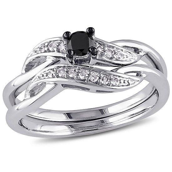 Womens 1/4 CT. T.W. Color Enhanced Black & White  Diamond Sterling Silver Bridal Set