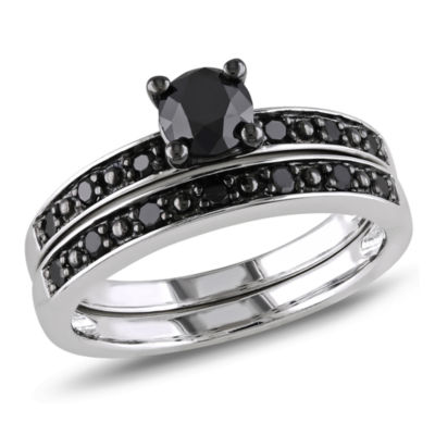 Womens 1 CT. T.W. Color Enhanced Black Diamond Sterling Silver Bridal Set